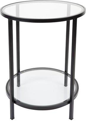 Cafe Lighting Martini Round Clear Glass Side Table Black