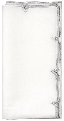 Kim Seybert Set of 4 Divot Dinner Napkin - White/Silver