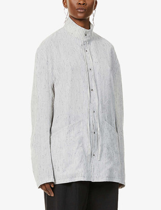 Chia Hung Su Striped linen- and wool-blend shirt