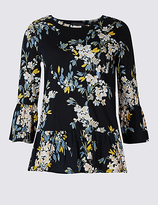 M&S Collection Pure Cotton Floral Print Peplum Shell Top
