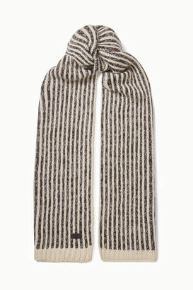 Saint Laurent Striped Knitted Scarf - Ivory