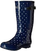 Jileon Extra Wide Calf Rubber Navy Blue Rain Boots for Women-Widest Fit Boots in the US-up to 21 inch calves-Wide in the Foot and Ankle-Durable Boots for All Weathers- 8 (XW)