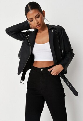 Missguided Black Faux Leather Boxy Biker Jacket