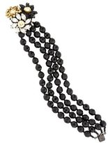 Miriam Haskell Multistrand Bead & Crystal Flower Bracelet