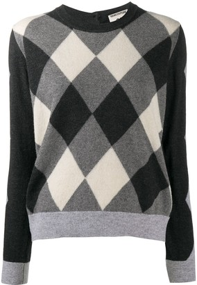 Semi-Couture Buttoned Check-Pattern Jumper