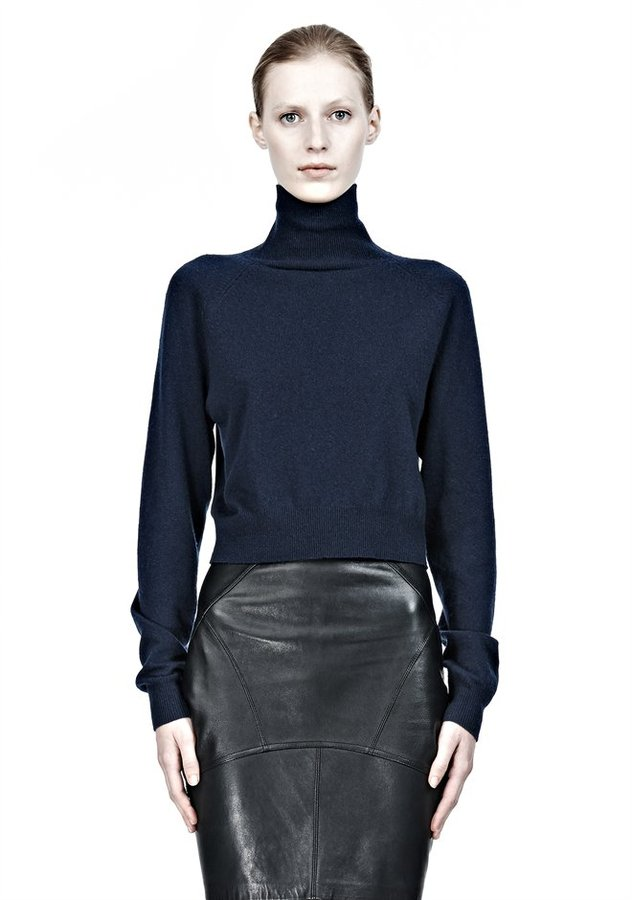 Alexander Wang Cropped Merino Blend Turtleneck Pullover