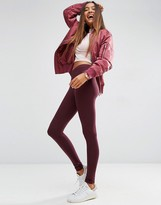 Asos High Waisted Leggings In Oxblood