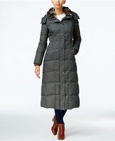 London Fog Faux-Fur-Collar Down Maxi Coat