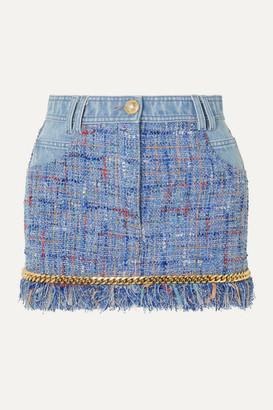 Balmain Chain-embellished Cotton-tweed And Denim Mini Skirt - Blue
