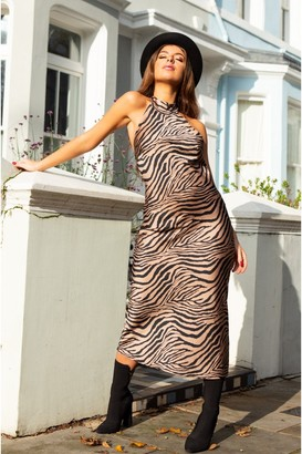 SlayTwins Kiera Halter Neck Slip Midi Dress- Zebra Print