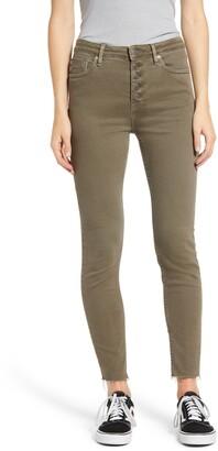 Vigoss Ace Raw Hem High Waist Button Front Skinny Jeans