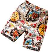 Honghu Men's Casual Flat Front Fit Chinese Graphic Print Loose Short Size M