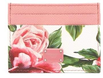 Dolce & Gabbana Rose Print Leather Cardholder - Womens - Pink White