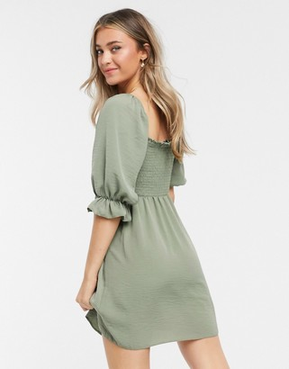 New Look shirred square neck mini dress in khaki
