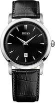 BOSS Hugo Boss Watch, Men's Ultra Slim Black Leather Strap 1512637