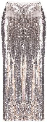 Hasanova Silver Sequin Shaping Midi Skirt