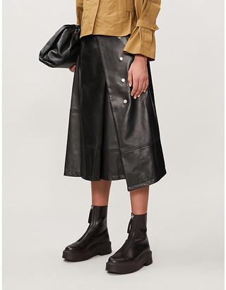 3.1 Phillip Lim Wrap-over high-waisted leather midi skirt