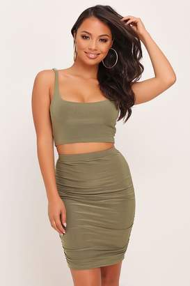 I SAW IT FIRST Khaki Double Layer Slinky Ruched Mini Skirt