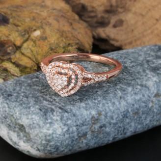 De Couer IGI Certified 1/4ct TDW Diamond Cluster Heart Shape Engagement Ring - Pink