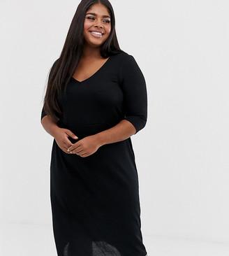 Junarose v neck 3/4 sleeve mini dress
