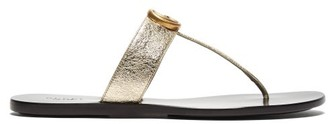 Gucci Gg Marmont Flat Leather Sandals - Womens - Gold