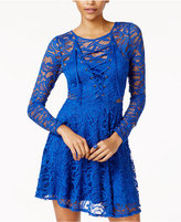 Material Girl Juniors' Lace Fit & Flare Dress, Only at Macy's
