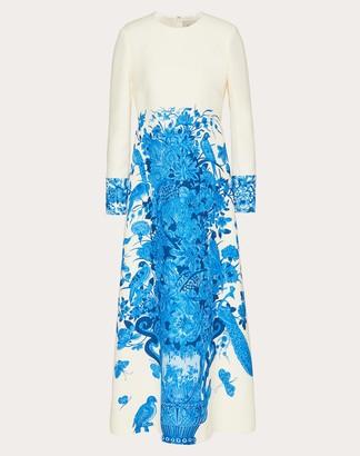 Valentino Printed Crepe Couture Dress Women Ivory/blue Virgin Wool 65%, Silk 35% 40
