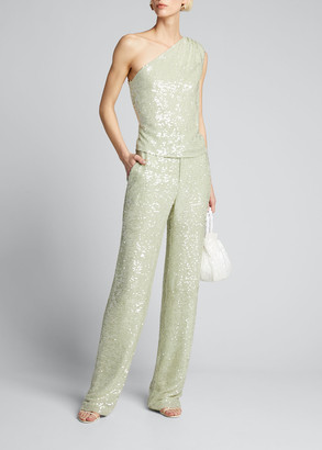 Sally LaPointe Sequined Jersey Asymmetric Top