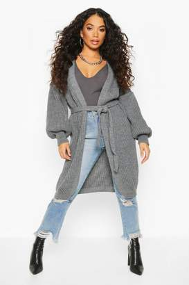 boohoo Petite Chunky Knit Belted Cardigan