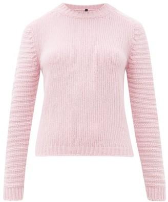 Sara Lanzi Ribbed-sleeve Crew-neck Wool-blend Sweater - Womens - Pink