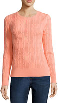 ST. JOHN'S BAY St. John's Bay Long-Sleeve Cable-Knit Sweater - Tall