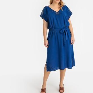 Castaluna Plus Size Guipure Lace Collar Tie-Waist Midi Dress