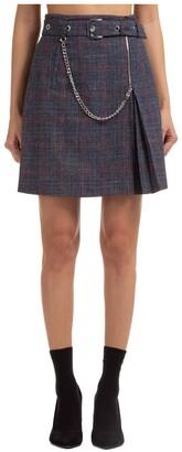 Alberta Ferretti Belted Plaid Mini Skirt