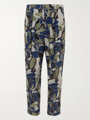 Equipment The Original Tapered Cropped Pleated Printed Twill Trousers - Men - Blue