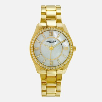 Kenneth Cole Gold Tone Link Watch with Crystal Halo Bezel