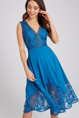 Little Mistress Reagan Lagoon Blue Lace-Trim Midi Dress