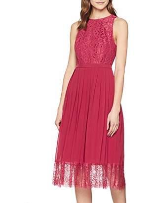 Little Mistress Women's Nadja Red Lace Pleat Midi Dress A-Line Plain Crew Neck Sleeveless Party Dress,8 (Manufacturer Size:8)