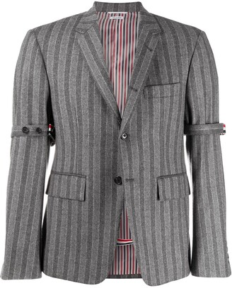 Thom Browne Chalk-Stripe Armband Jacket