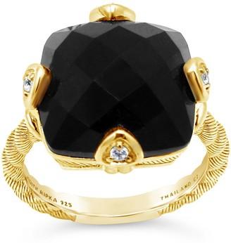 Judith Ripka 14K Gold Clad Cushion Cut Onyx & Diamonique Ring