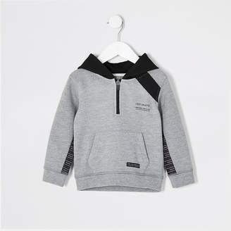 River Island Mini boys RI Active grey tape hoodie