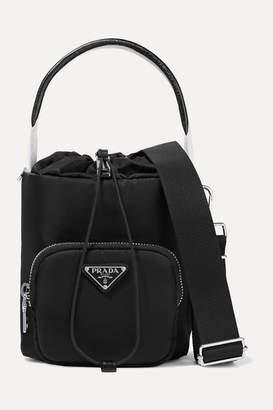 Prada Leather-trimmed Shell Bucket Bag - Black