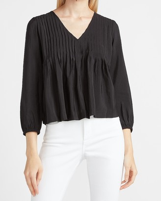 Express Pleated V-Neck Top