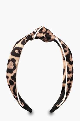 boohoo Leopard Piping Twist Knot Headband