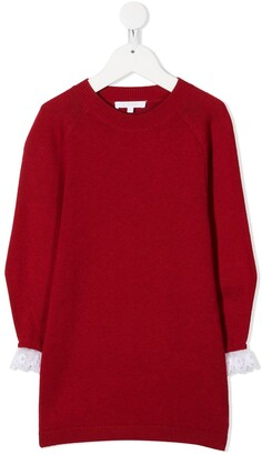 Chloé Kids Lace-Trimmed Cuff Knitted Dress