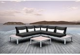 Solis Pulito 4-piece White Frame Modular Sectional Patio Set, with Black Cushions, and White Toss Pillows
