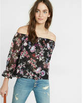 Express floral print off the shoulder abbreviated blouse