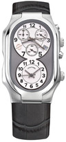 Philip Stein Teslar Men's Dual Time Croc Embossed Leather Strap Watch