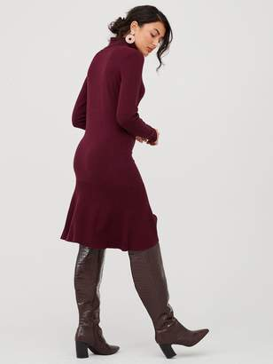 Very Roll Neck Godet Hem Fit And Flare Knitted Dress - Plum