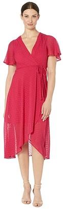Vince Camuto Clip Dot Tulip Skirt Midi Dress with Flounce Sleeve (Berry) Women's Dress