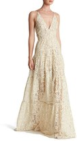 Dress the Population Women's Melina Lace Fit & Flare Maxi Dress